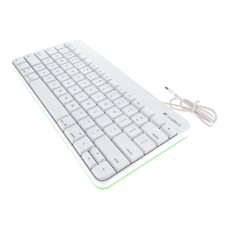 refurbished logitech wired keyboard for apple ipad 1 2 3 with 30 pin connector white green. Black Bedroom Furniture Sets. Home Design Ideas