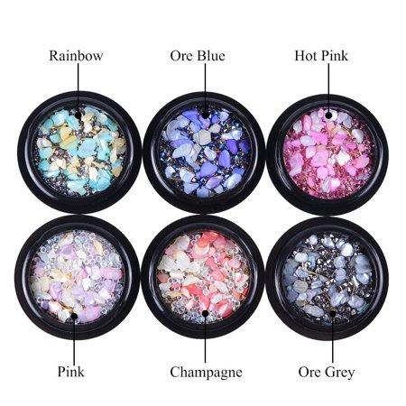 6 Box Nail fashion Art Crushed Shell Crystals Beads Gem Pearls Mixed Rhinestones Set
