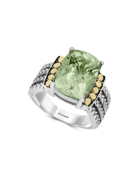 18K Goldplated, Green Amethyst Sterling Silver Ring
