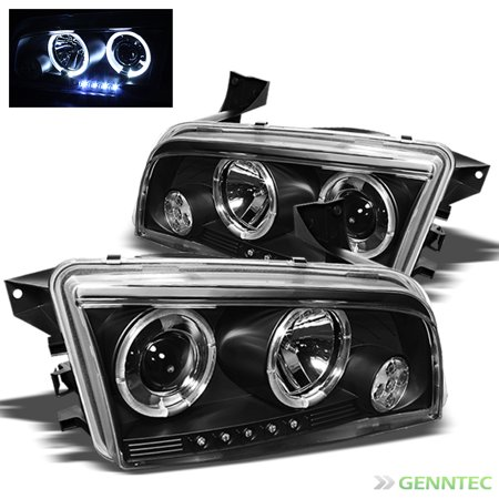 - 2006-2010 Dodge Charger Halo LED Projector Headlights Black Head Lights Lamp Pair Left+Right 2007 2008 2009