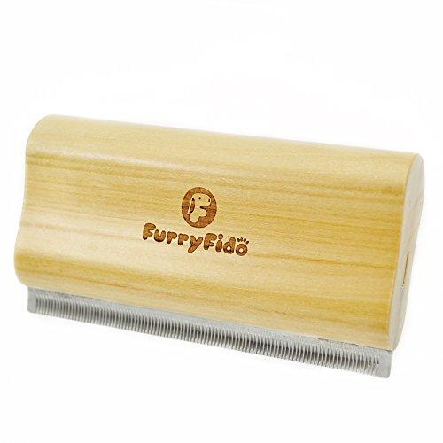 DeShedding Brush by Furryfido Wooden Design, Effective Grooming Tool for Dog, Cat and Horse Fur Remove (Short teeth)