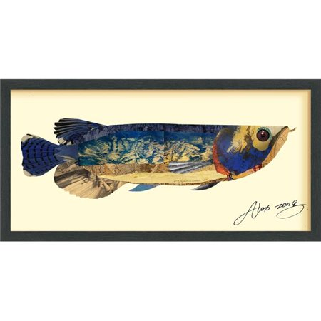 Arowana - Dimensional Art Collage Hand Signed by Alex Zeng Framed Graphic Wall (Lewis Hand Signed)