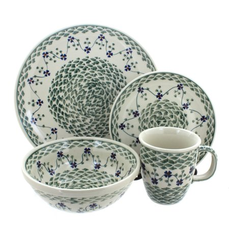 Polish Pottery Sage Floral 4 Piece Dinner Set