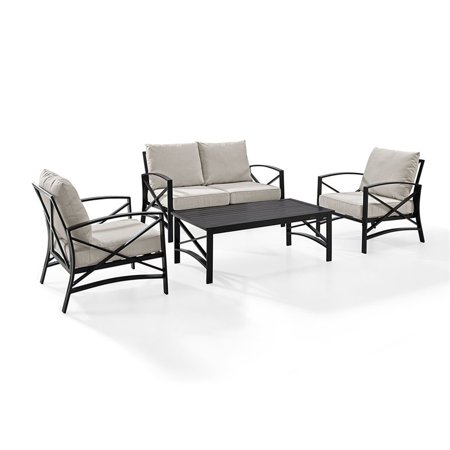 Crosley Furniture Kaplan 4 Pc Outdoor Seating Set With Oatmeal