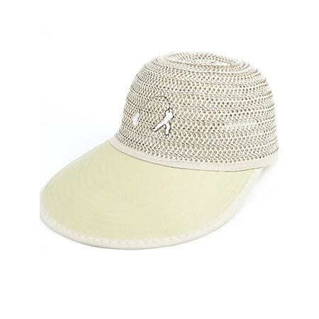 Outdoors Adjustable Belt Striped Summer Sun Visor Hat Cap Khaki for