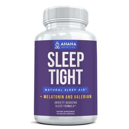 Natural Sleep Aid Capsules With Melatonin & Valerian Root (60 Vegetarian Capsules) - Sleep Well & Wake Up Refreshed, Non Habit Forming Sleep Supplement