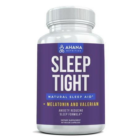Natural Sleep Aid Capsules With Melatonin & Valerian Root (60 Vegetarian Capsules) - Sleep Well & Wake Up Refreshed, Non Habit Forming Sleep Supplement