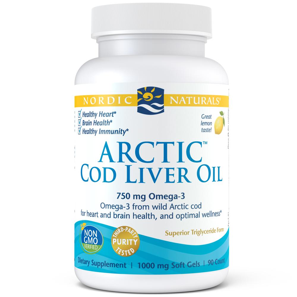 Nordic Naturals Arctic Cod Liver Softgels, Lemon, 750 Mg, 90 Ct
