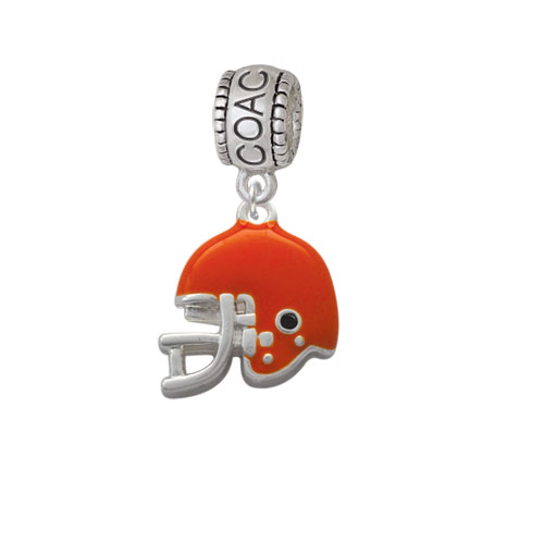 Small Orange Football Helmet - Coach Charm Bead