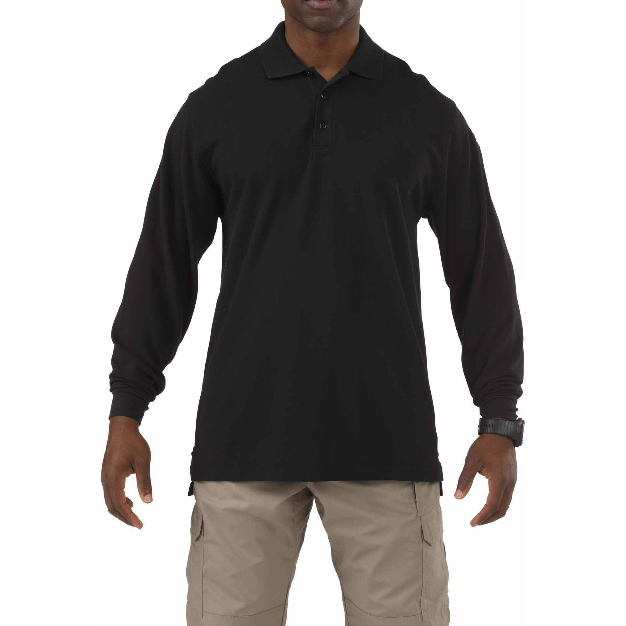 5.11 Tactical Long Sleeve Professional Polo Shirt, Black, Tall