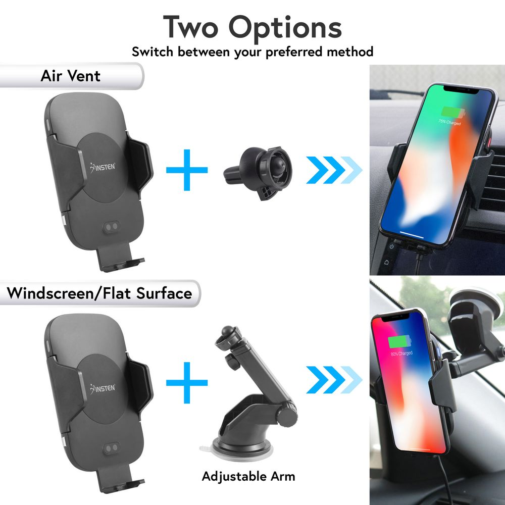 Wireless Charger Mount by Insten Motion Sensor Automatic Dashboard Window Suction & Air Vent Phone Holder Wireless Charging Pad Car Mount for iPhone X 8 Plus Samsung S9 S9+ (Free QC 3.0 Car Charger) - image 5 of 5