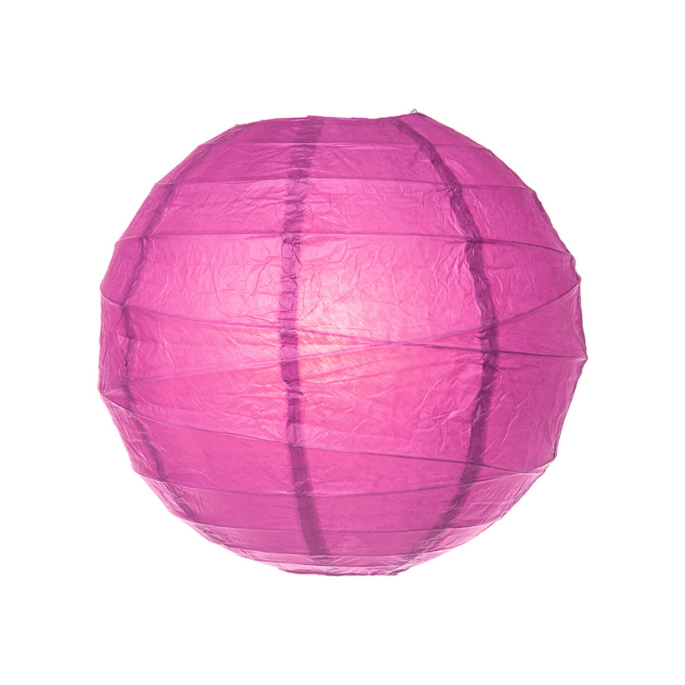 Luna Bazaar Paper Lantern (10-Inch, Free-Style Ribbed, Hot Pink) - Rice Paper Chinese/Japanese Hanging Decoration - For Home Decor, Parties, and Weddings