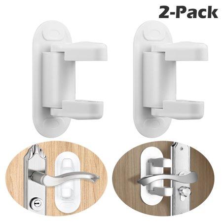 Childproof Door Lever Lock, EEEkit 2-Pack Prevents Toddlers from Opening Doors.Door Lever Lock, Durable ABS with Adhesive Backing. Simple Install, No Tools