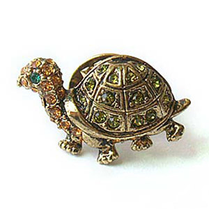 Platinum-Plated Swarovski Crystal Turtle Design Brooch Pin (1 2 x 1 2) Gift Boxed by