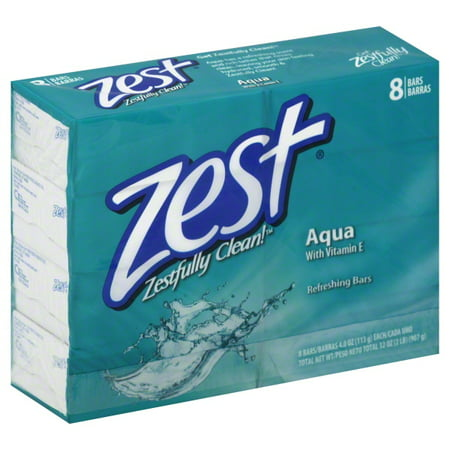 (2 pack) Zest Zestfully Clean Aqua Refreshing Bars, 4.0 oz, 8 count