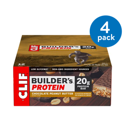 (4 Pack) Clif Builder's Protein Bar, Chocolate Peanut Butter, 20g Protein, 6 (Best Healthy Protein Bars)