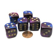 Chessex Gemini 20mm Big D6 Dice, 6 Pieces - Blue-Purple with Gold Pips #DG2028