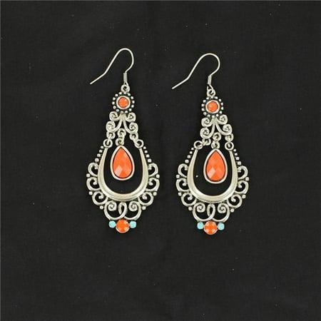 Blazin Roxx 30434 Scroll Chandelier Earrings, Red & Turquoise - image 1 of 1