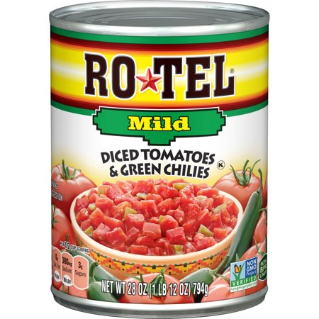 Organic Diced Tomatoes - (6 Pack) RO*TEL Mild Diced Tomatoes and Green Chilies, 28 Ounce