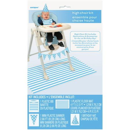 Blue Birthday High Chair Decorating Kit, 4pc