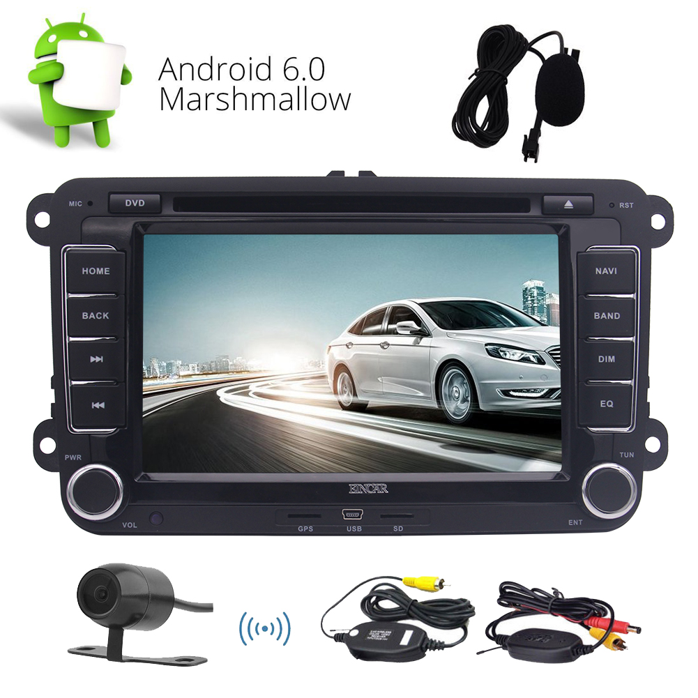 Android Autoradio Double Din Car Stereo Radio In Dash Head Unit Support GPS Navigation Car DVD CD Player Phone Mirrorling WIFI 3G 4G Bluetooth SWC FM AM RDS Radio OBD2 for VW Golf