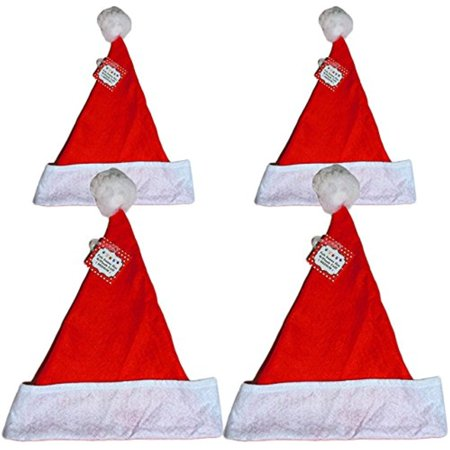 Felt Holiday 2 Medium & 2 Large Christmas Red Santa Hat With Plush Cuff (4)