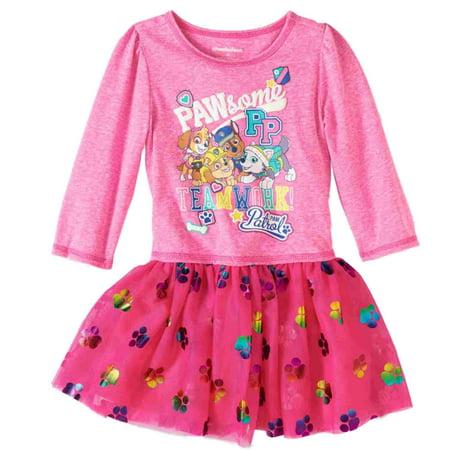 Toddler Girls Pink Paw Patrol Pawesome Puppy Dog Tulle Dress Skye](Paw Patrol Dress)