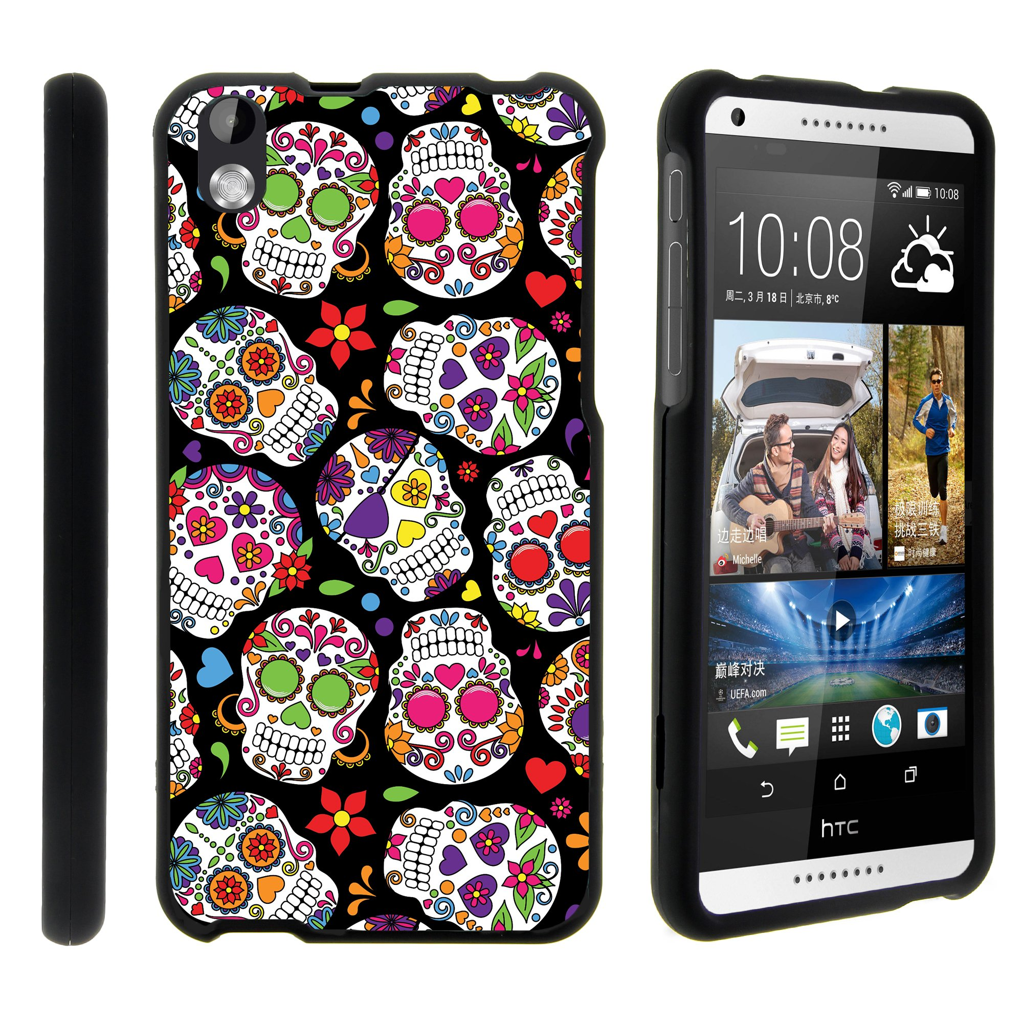 HTC Desire 816, [SNAP SHELL][Matte Black] 2 Piece Snap On Rubberized Hard Plastic Cell Phone Cover with Cool Designs - Sugar Skull Design