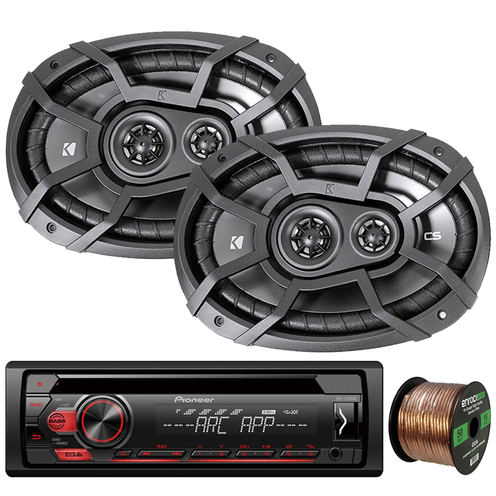 "Pioneer DEH-S1100UB Single-DIN CD Player AM/FM Car Stereo Receiver, 2 x Kicker CS-Series CSC693 6x9"" 3-Way 4-Ohm Car Audio Speakers, 16-Gauge 50Ft. Speaker Wire"