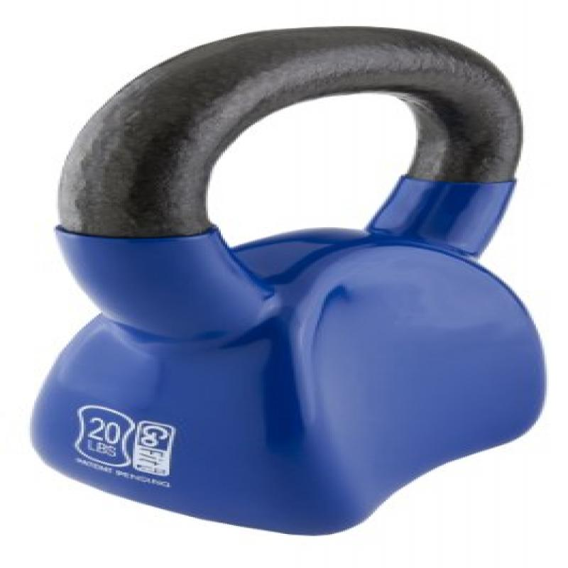 Contoured Single Vinyl Coated Kettlebell With Training Dv...