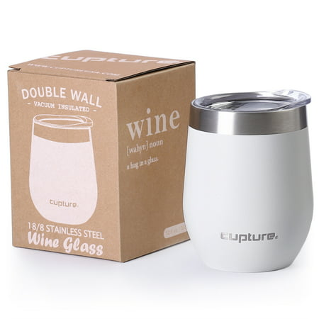 Cupture Stemless Wine Glasses 12 oz Vacuum Insulated Tumbler with Lids - 18/8 Stainless Steel (Winter (12 Years Shiraz Wine)