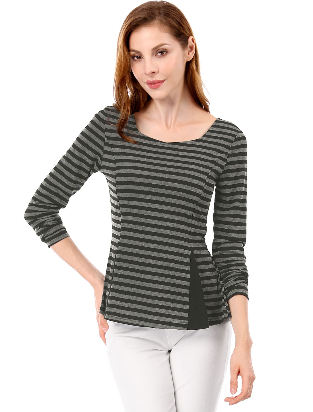 c21d31d2c60 Allegra K Women Scoop Neck Stripes Long Sleeves Peplum Blouse Black White S