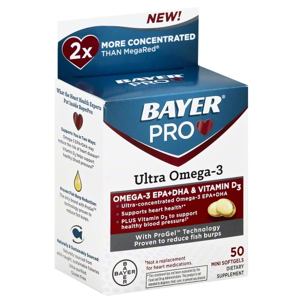 Bayer Pro Ultra Omega-3 Dietary Supplement Mini, 50 count