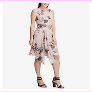 Dkny Women's Crew Neckline Back Zipper Closure Printed Draped A-Line Dress 4/Pink Floral
