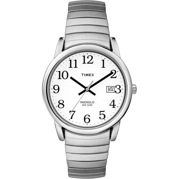 Timex Men's Easy Reader Date 33mm Silver-Tone Stainless Steel Expansion Band Watch