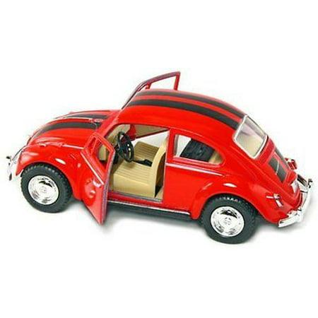"""5"""" Kinsmart Volkswagen Beetle VW Bug w/ Stripes Diecast Model Toy 1:32 Red"""