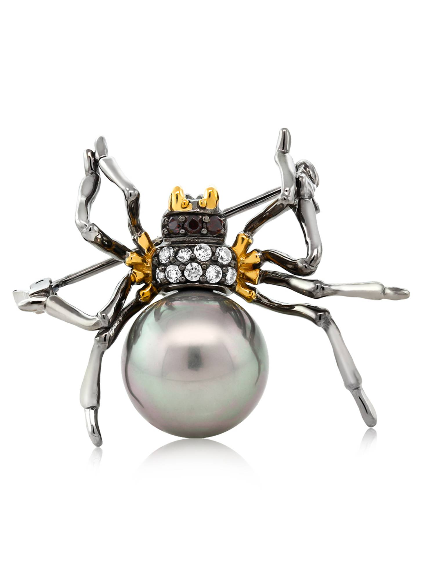 925 Sterling Silver Black & Gold Plated Simulated Shell Pearl Spider Brooch by
