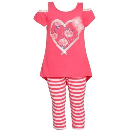 Girls Potato - Littoe Potatoes Little Girls Coral Floral Heart Stripe 2 Pc Legging Set