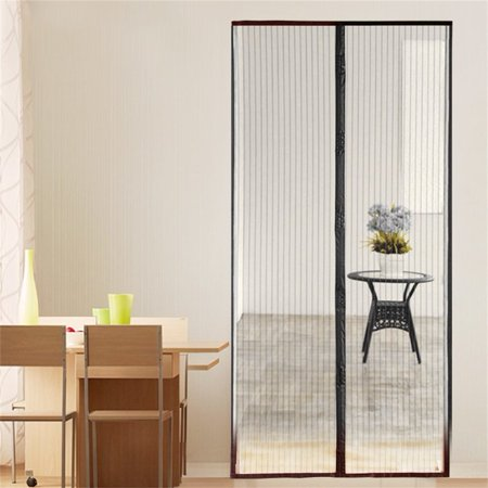 New Magnetic Fastening Hands Free Insect Screen Magic Curtain Door Mesh Black Gold