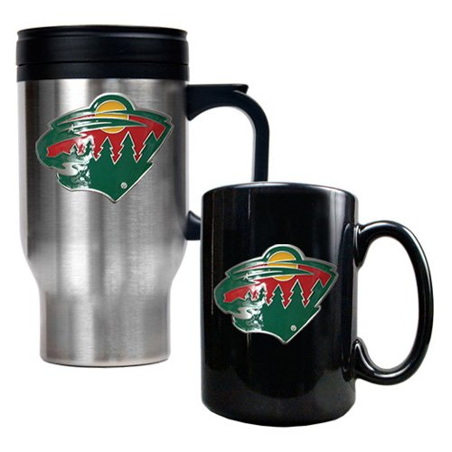 NHL - Minnesota Wild Standard Travel Mug and Ceramic Mug Set