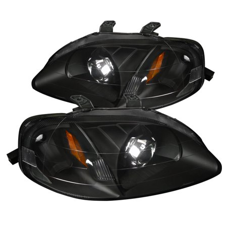 Spec-D Tuning For 1999-2000 Honda Civic Retrofit Style Projector Headlights Black Head Lamps 1999 2000 (Left + Right) 03 Honda Civic Projector Headlights