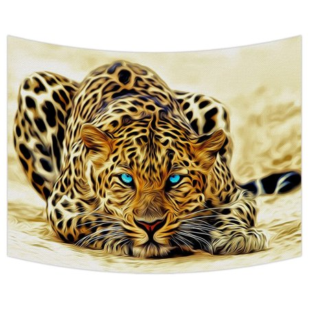 GCKG Special Effect Leopard With Authentical Blue Eyes Wild Animal Print Tapestry Wall Hanging,Wall Art, Dorm Decor,Wall Tapestries Size 80x60 - Leopard Tapestry