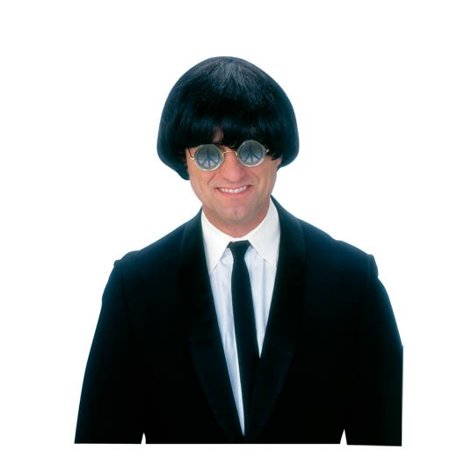 Short Black Bob Wig (Beatles Adult Wig Mop Top John Paul George Ringo Sonny Short Yeah Yeah)