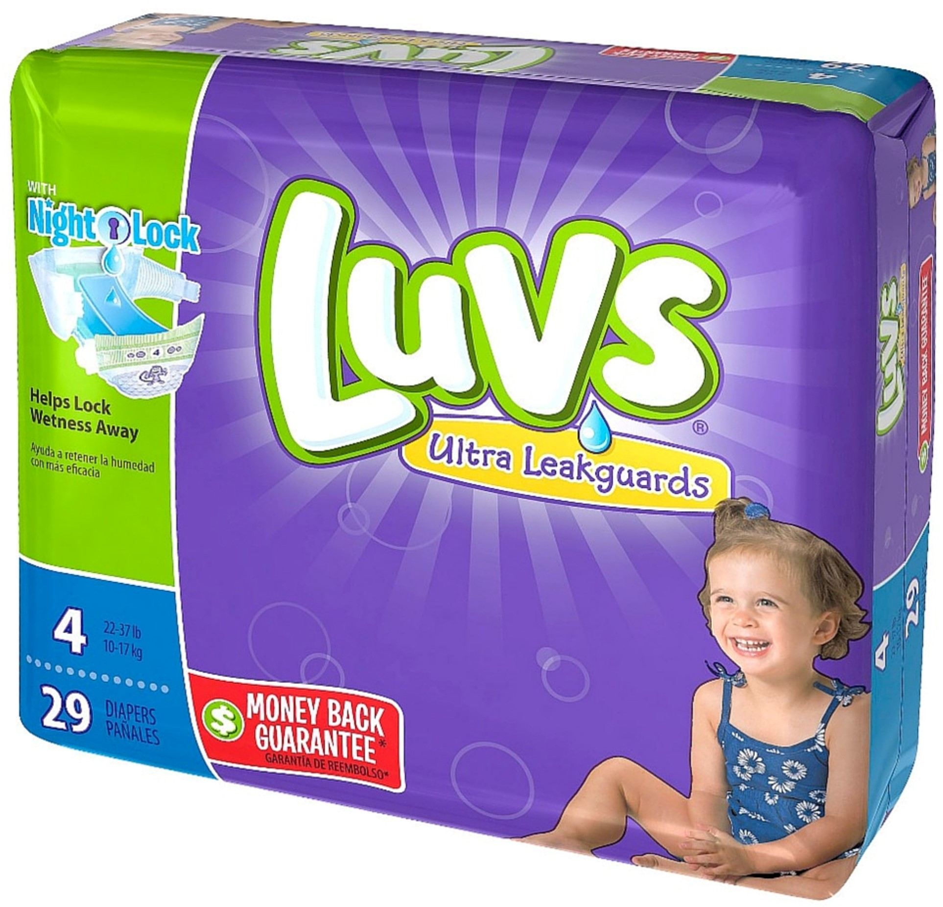 Luvs Ultra Leakguards Diapers with Night Lock, Size 4 29 ...