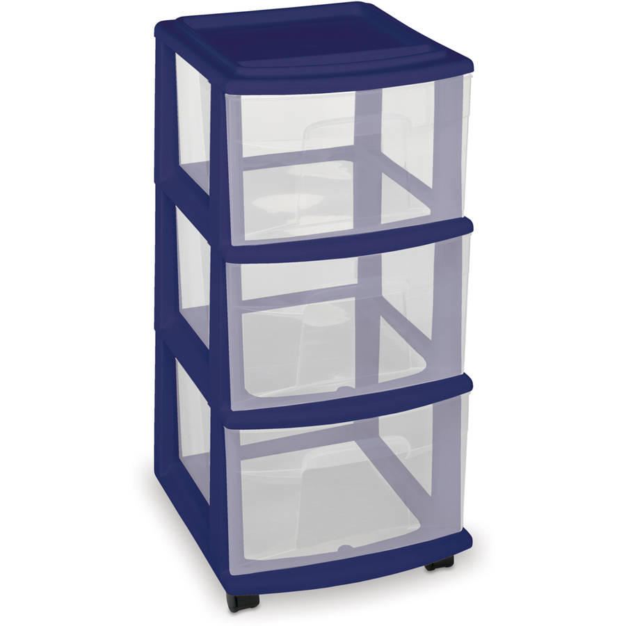 Homz 3-Drawer Medium Cart, Set of 2, Multiple Colors