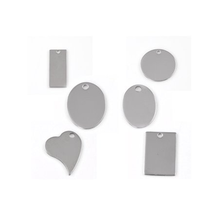 30pcs Wholesale Multi-Shaped Stainless Steel Charm Pendant Blank Stamping Tag