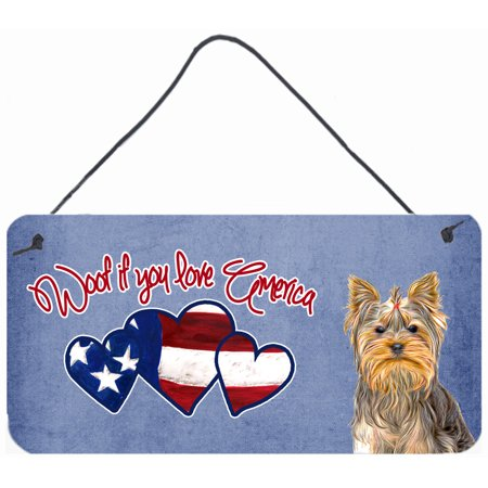Woof if you love America Yorkie Yorkshire Terrier Wall or Door Hanging Prints