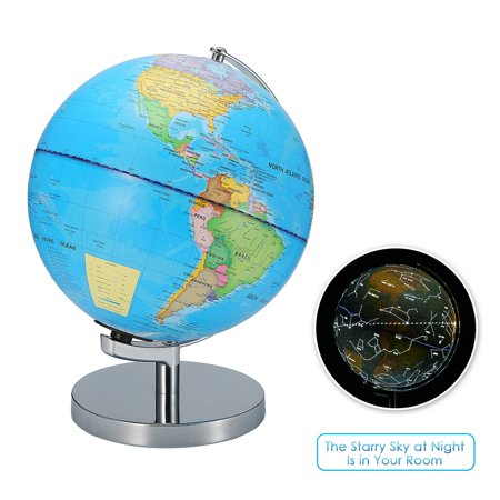Kids 2-IN-1 World Globe Day Night Constellation View Children Educational World Globe Earth Sphere With Stainless Steel Stand & LED Lights