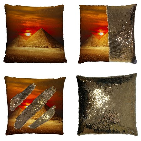 GCKG City Landscape Pillowcase, Egyptian Pyramids in Giza Valley under Sunset Reversible Mermaid Sequin Pillow Case Home Decor Cushion Cover 16x16 inches ()