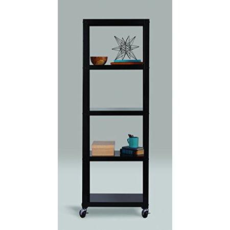 "Space Solutions Industrial Modern Mobile Black 5 Shelf Bookcase Cart, 72"" x 24"" x 14"", Black - Black, 72"" x 24"" x 14"""